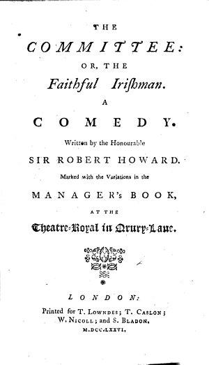 The Committee, Or, The Faithful Irishman