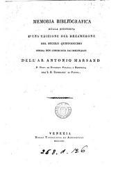 Memoria bibliografica sulla scoperta d' una edizione del Decamerone del secolo quintodecimo, finora non conosciuta dai bibliografi