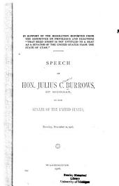 Speech of Hon. Julius C. Burrows of Michigan in the Senate of the United States, Tuesday, December 11, 1906
