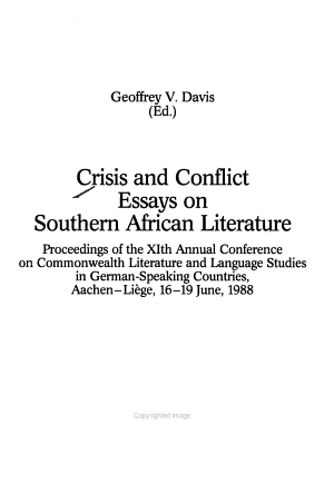 Crisis and Conflict Essays on Southern African Literature PDF