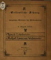 Öffentliche Sitzung der k. Akademie der Wissenschaften bei Enthüllung des Denkmals von Lorenz v. Westenrieder am 1 August 1854