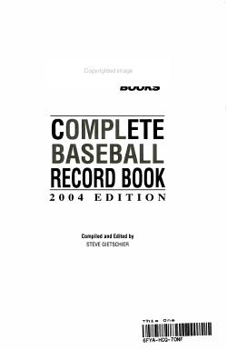 Complete Baseball Record Book PDF