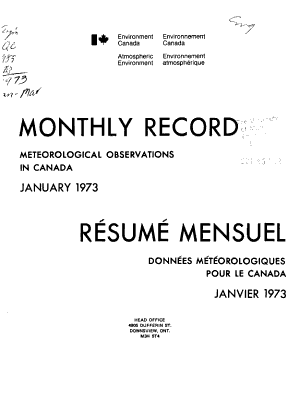 Monthly Record  Meteorological Observations in Canada