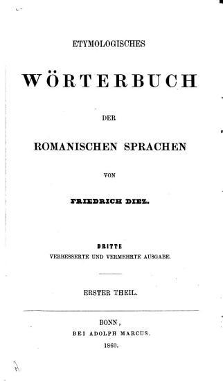 Etymologisches W  rterbuch der romanischen Sprachen PDF