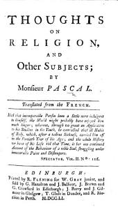 Thoughts on Religion, and Other Subjects: Translated from the French
