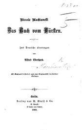 Das Buch vom Fürsten. Ins Deutsche übertragen von Alfred Eberhard, etc