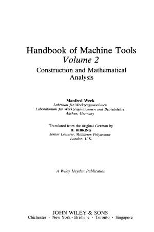 Handbook of Machine Tools  construction and mathematical analysis PDF