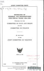 Estimates of Federal Tax Expenditures for Fiscal Years 1994-1998