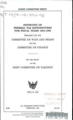 Estimates of Federal Tax Expenditures for Fiscal Years 1994 1998