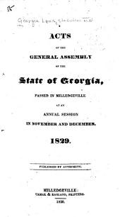 Acts of the General Assembly of the State of Georgia