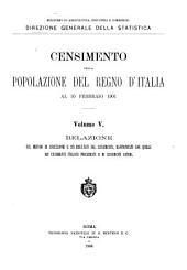 Censimento della popolazione del regno d'Italia al 10 febbraio 1901 ...: Volume 5