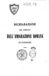 Dichiarazione del Comitato dell'emigrazione romana in Firenze