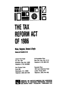 The Tax Reform Act of 1986