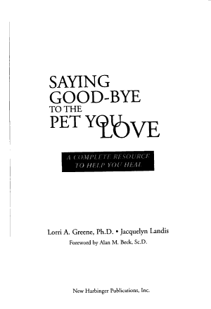 Saying Good Bye to the Pet You Love