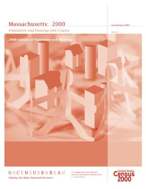 Census of population and housing  2000   Massachusetts Population and Housing Unit Counts PDF