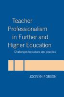 Teacher Professionalism in Further and Higher Education PDF
