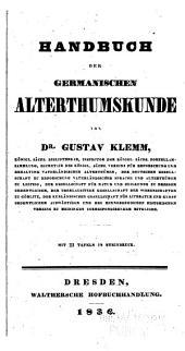 Handbuch der germanischen Alterthumskunde