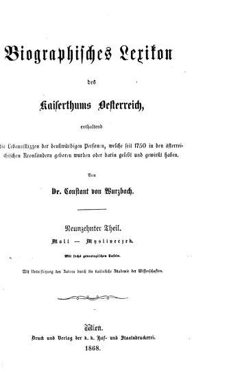 Biographisches Lexikon des Kaiserthums Oesterreich PDF