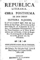 Republica literaria: obra posthuma