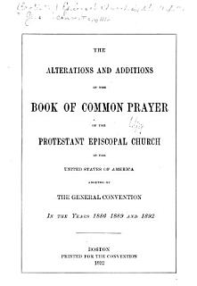 The Alterations and Additions in the Book of Common Prayer of the Protestant Episcopal Church in the United States of America Book