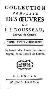 Collection complete des œuvres de J.J. Rousseau: Volume23