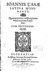 Latina Monimenta: Quorum partim versibus, partim soluta oratione scripta sunt