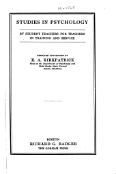 Studies in psychology: by student teachers for teachers in training and service