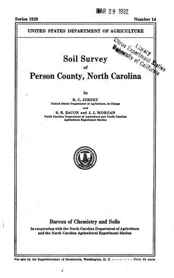 Soil Survey of Person County  North Carolina PDF