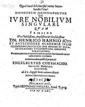 De jure nobilium singulari; praes. Henr. Hahn. - Helmestadii, Henn. Muller 1661