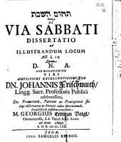De via sabbati, dissertatio