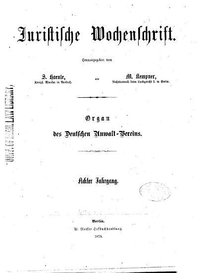 Juristische Wochenschrift     PDF