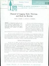 Disposal of Logging Slash, Thinnings, and Brush by Burying