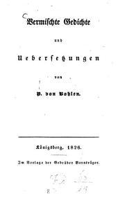 Vermischte Gedichte und Übersetzungen