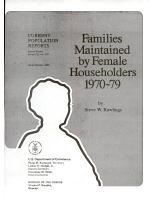 Families Maintained by Female Householders, 1970-79