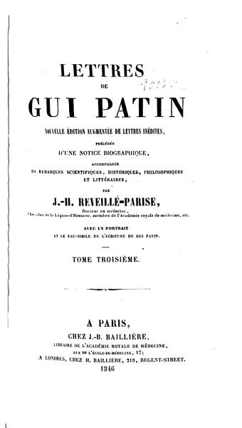 Download Lettres de Gui Patin Book