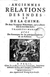 Anciennes relations des Indes et de la Chine, de deux voyageurs mahometans, tr. d'arabe [Akhbâr al-Sîn wal-Hind, by E. Renaudot.].