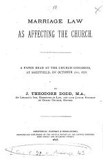 Marriage Law as Affecting the Church