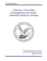 Review of the FBI s Investigations of Certain Domestic Advocacy Groups PDF