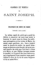 Gloires et vertus de Saint-Joseph: modèle des âmes intérieures ou méditations pour le mois de mars et tous les mercredis de l'année