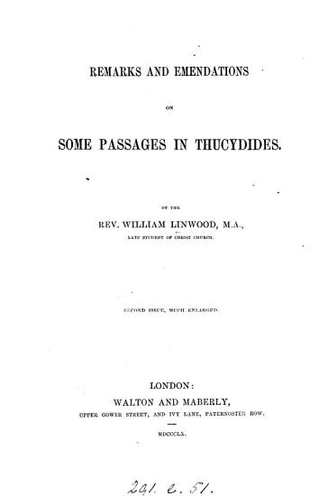 Remarks and Emendations on Some Passages in Thucydides PDF