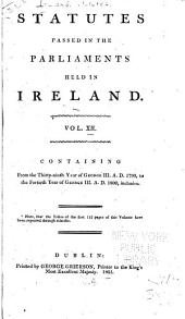 Statutes Passed in the Parliaments Held in Ireland: 1799-1800