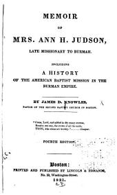 Memoir of Mrs. Ann H. Judson, late missionary to Burmah