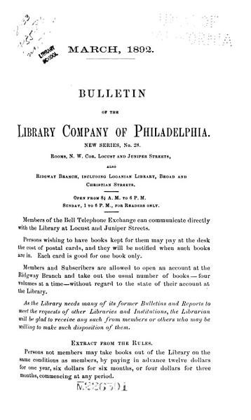 Download Bulletin of the Library Company of Philadelphia Book