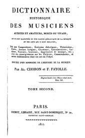 Dictionnaire historique des musiciens, artistes et amateurs, morts ou vivans: qui se sont illustrés en une partie quelconque de la musique et des arts qui y sont relatifs ...