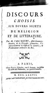 Discours choisies sur divers sujets de religion et de littérature
