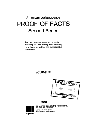American jurisprudence proof of facts  second series