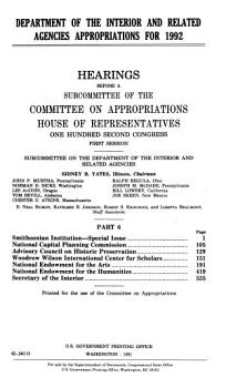 Department of the Interior and Related Agencies Appropriations for 1992 PDF
