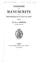 Catalogue des manuscrits de la Biblioth  que de la ville de Paris PDF