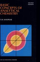 Basic Concepts Of Analytical Chemistry PDF