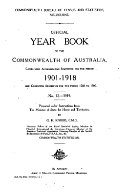 Official Year Book of the Commonwealth of Australia No  12   1919 PDF